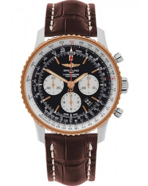 Exact Replica Breitling Navitimer 01 UB012721/BE18 46mm Steel and Gold Brown Croco Strap