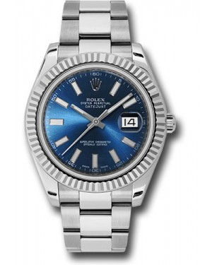 Exact Replica Rolex Datejust II 116334 blio 41mm Steel and White Gold Fluted Bezel Oyster