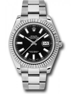 Exact Replica Rolex Datejust II 116334 bkio 41mm Steel and White Gold Fluted Bezel Oyster