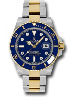 Exact Replica Rolex Submariner 116613 bld Steel and Gold Watch