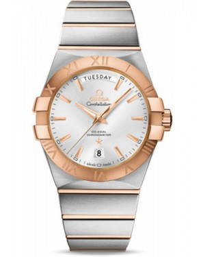 Replica Omega Constellation Day-Date 38mm Stainless Steel And Red Gold 123.20.38.22.02.001
