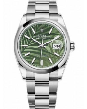 Replica Rolex Datejust 36 Green Palm Motif Dial 126200-0020 Watch