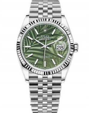 Replica Rolex Datejust 36 Green Palm Motif Dial 126234-0047 Watch