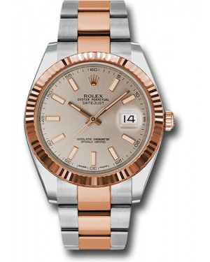 Replica Rolex Datejust 41 Steel & Pink Gold Sundust Index Dial 126331