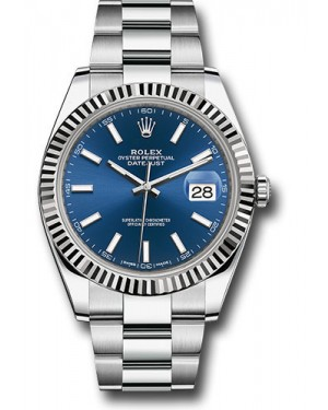 Replica Rolex Datejust 41 Steel & White Gold Blue Index Dial 126334