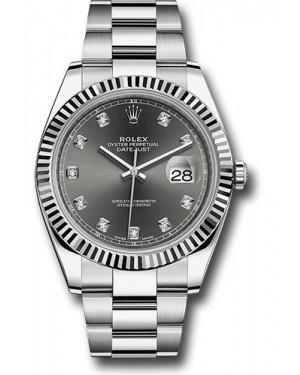Replica Rolex Datejust 41 Steel & White Gold Dark Rhodium Diamond Dial 126334
