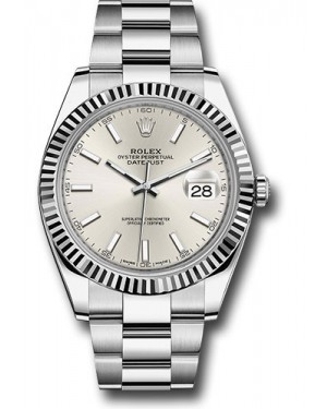 Replica Rolex Datejust 41 Steel & White Gold Silver Index Dial 126334