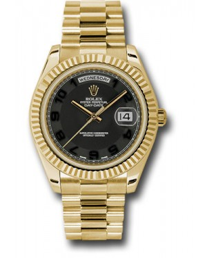Exact Replica Rolex Day-Date II 218238 bkcap Yellow Gold Fluted Bezel Watch