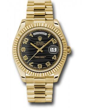 Exact Replica Rolex Day-Date II 218238 bkwap Yellow Gold Fluted Bezel Watch