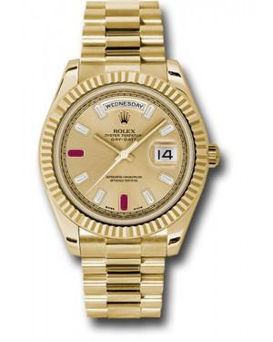 Exact Replica Rolex Day-Date II 218238 chrdp Yellow Gold Fluted Bezel Watch