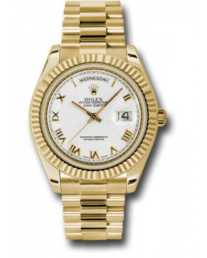 Exact Replica Rolex Day-Date II 218238 wrp Yellow Gold Fluted Bezel Watch