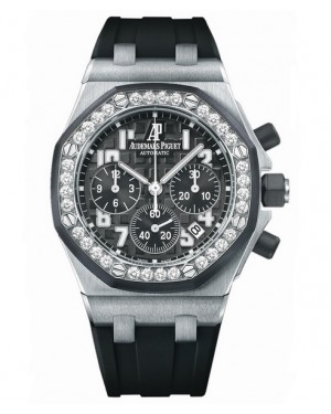 Exact Replica Audemars Piguet Royal Oak Offshore Lady Chronograph Stainless Steel Black Dial 26048SK.ZZ.D002CA.01 Watch