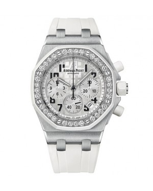 Exact Replica Audemars Piguet Royal Oak Offshore Lady Chronograph Stainless Steel Silver Dial 26048SK.ZZ.D010CA.01 Watch