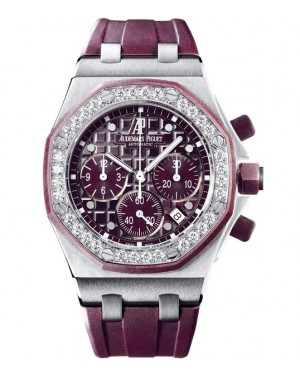 Exact Replica Audemars Piguet Royal Oak Offshore Lady Chronograph Stainless Steel Purple Dial 26048SK.ZZ.D066CA.01 Watch