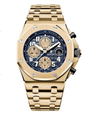 Replica Audemars Piguet Royal Oak Offshore Chronograph Yellow Gold Blue Dial 26470BA.OO.1000BA.01