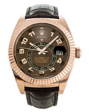 Replica Rolex Sky-Dweller Everose Gold Chocolate Sunray Dial 326135 Watch