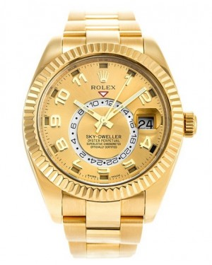 Replica Rolex Sky-Dweller Yellow Gold Champagne Sunray Dial 326938 Watch