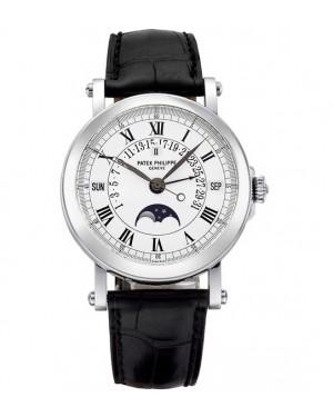 Replica Patek Philippe Perpetual Calendar Moonphase 5059P-001 Grand Complications Platinum White Dial Watch