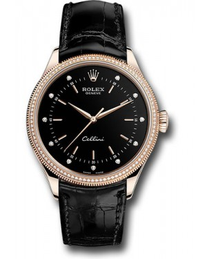 Replica Rolex Cellini Time Black Dial 50605RBR bkdbk Watch