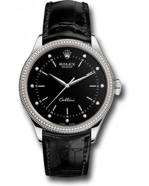 Replica Rolex Cellini Time White Gold 50609RBR bkdbk Watch