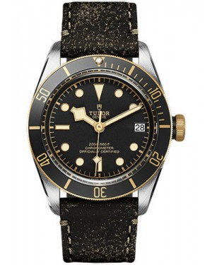 Replica Tudor Heritage Black Bay Two Tone M79733N Leather Strap