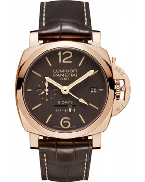 Replica Panerai Luminor 1950 8 Days GMT 44mm Red Gold PAM00576