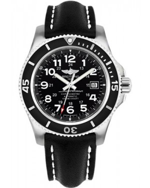 Exact Replica Breitling Superocean II 44mm Black Dial Black Leather Strap A17392D7/BD68 Watch