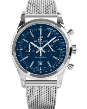 Replica Breitling Transocean Chronograph 38 Stainless Steel Ocean Classic Bracelet Blue Dial A4131012/C862 Watch