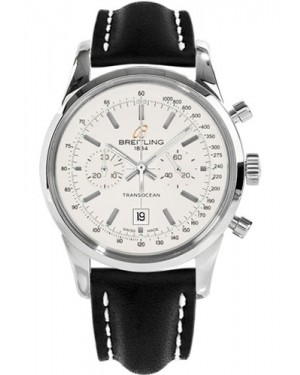 Replica Breitling Transocean Chronograph 38 Stainless Steel Black Leather Strap A4131012/G757 Watch