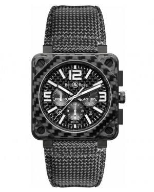 Replica Bell & Ross Aviation BR01-94 Black Carbon Fibe Chronograph