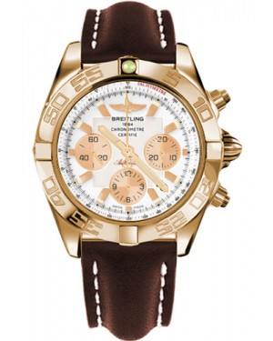 Replica Breitling Chronomat 44 Rose Gold Polished Bezel Brown Leather Strap HB011012/A696