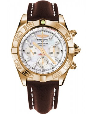Replica Breitling Chronomat 44 Rose Gold Polished Bezel Brown Leather Strap HB011012/A698