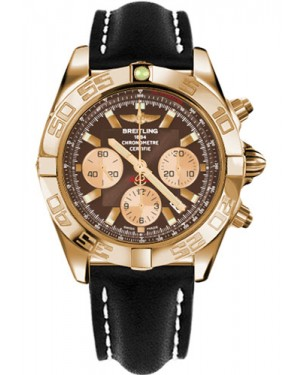 Replica Breitling Chronomat 44 Rose Gold Polished Bezel Leather Strap HB011012/Q576