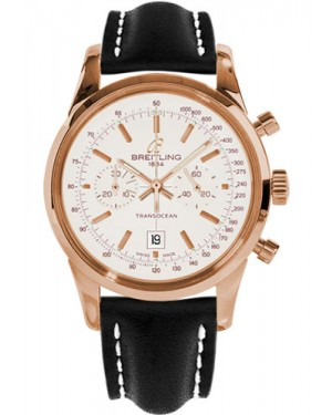 Replica Breitling Transocean Chronograph 38 Red Gold Black Leather Strap R4131012/G758 Watch