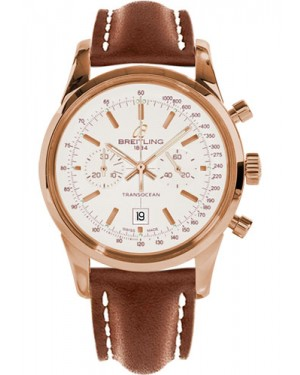 Replica Breitling Transocean Chronograph 38 Red Gold Leather Strap R4131012/G758 Watch