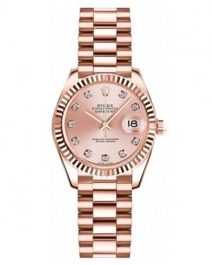 Replica Rolex Datejust Lady 26mm Pink Diamonds Dial 179175