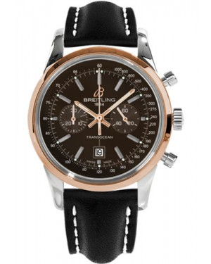 Replica Breitling Transocean Chronograph 38 Two Tone Black Leather Strap U4131012/Q600 Watch