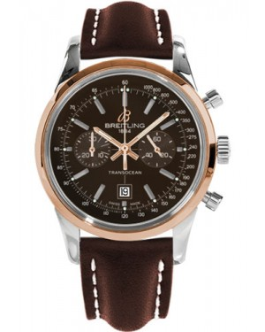 Replica Breitling Transocean Chronograph 38 Two Tone Brown Leather Strap U4131012/Q600 Watch