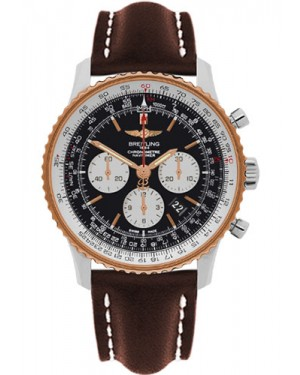 Exact Replica Breitling Navitimer 01 UB012721/BE18 46mm Steel and Gold Brown Leather Strap