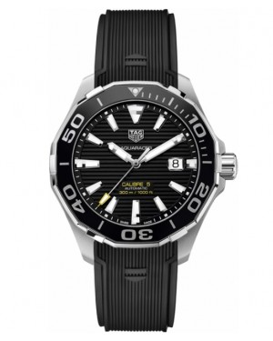 Replica Tag Heuer Aquaracer 300M Calibre 5 Black Dial with Yellow WAY201A.FT6069 Watch